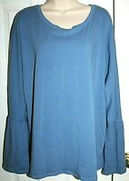 Moral Fiber Women's Blue Long Tulip Sleeve Tee Size 2X NEW