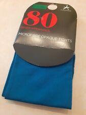 Opaque 80 Denier Teal Tights 1 Pair Small/Medium Microfibre Brand New