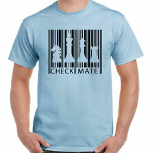 Chess T-Shirt Barcode Mens Funny Board Game Player Set Pieces Timer Clock