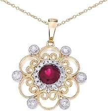14K Two-Tone Gold Round Ruby & Diamond Filigree Pendant (Chain NOT included)