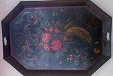 Antique Toleware Tray Handpainted Exotic Bird Floral Design on Black 31.5 x 21""