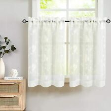 Tier Curtains White 45 Inch Length Kitchen Cafe Floral Embroidered Sheer 1 Pair