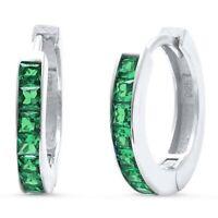 Emerald Baguette Huggie Hoop Earrings in Solid Sterling Silver -  MAY BIRTHSTONE