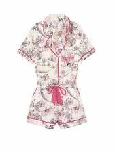 Victoria Secret Satin Pink Floral Stripe Romper Pajamas PJs Size XS