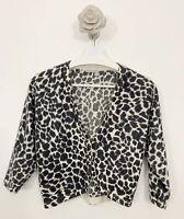 Wallis Lambswool Angora Mix Cardigan Size M Cream Black Animal Print 3/4 Sleeves