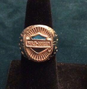 Original Harley Davidson Men's Sterling Silver HD Logo w/Blue Turquoise S.9 Ring