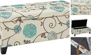 Breanna Fabric Storage Ottoman, White And Blue Floral