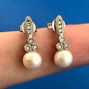 Designer 10K White Gold Pearl Diamond Accent Bridal June Anniversary Earrings