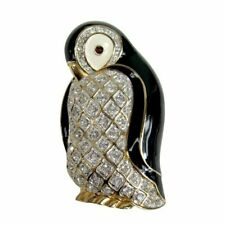 JUDITH LEIBER Swarovski Crystal Penguin Brooch in Box