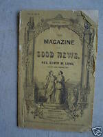 RARE March 1862 Booklet Magazine of Good News