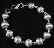 "Brushed Textured Silver Plated Copper Ball Round Link Chain Bracelet 6 1/2"" 8"""