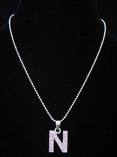 """""""N"""" LETTER INITIAL ALPHABET PENDANT CHARM NECKLACE SILVER TONE CRYSTAL 5 COLORS"""