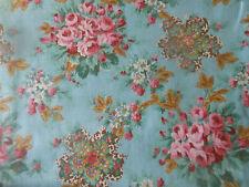 Antique Romantic Cottage Roses Jacobean Floral Cotton Fabric ~ Pink Blue ~unused