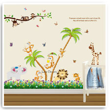 Monkey Wall Stickers Animal Jungle Zoo Nursery Baby Kids Room Decals Art Mural