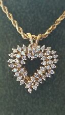 "14k Yellow Gold Diamond Heart Pendant Necklace w/ 10K rope chain 18"""
