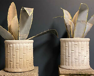 Pair Of Pot Cement Bamboo Decoration Of Jardin Vintage Fiber Cement Sold Empty