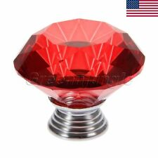 Red Crystal Glass Diamond Knob Cabinet Door Handle Drawer Csae Pull Knob 30mm Us