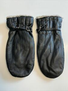 Laimbock Black Leather Mittens Gloves. Size 8