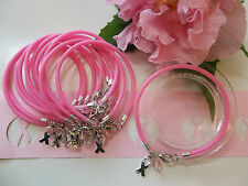 1 DZ.  BREAST CANCER AWARENESS  BRACELETS /HOPE RIBBON CHARM/PINK ROUND BEAD