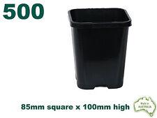 85mm Square Black Plastic Pot x500