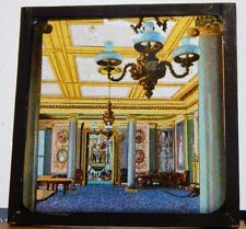 Antique Glass Slide classical house interior architecture magic Lantern Slide