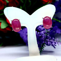 NATURAL 8 X 11 mm. CABOCHON RED RUBY EARRINGS 925 STERLING SILVER