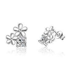 Ladies Elegant 925 Sterling Silver CZ Cubic Zirconia Flower Ear Stud Earrings