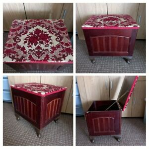 VINTAGE 1950s - Wooden Box Seat Storage Red Brown Fabric Top/Inside On Legs