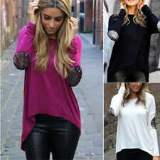 ISASSY Irrégulier Chemise Femme Haut Coton Pull Manche Longues Paillette T-Shirt