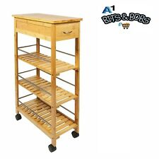 Bamboo Wooden Kitchen Trolley Slim 4 Tier Trolley Organiser With Wheels Natural