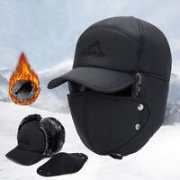 Men Trapper Winter Hat Earflaps Snow Aviator Bomber Trooper Faux Cap Warmer ZB