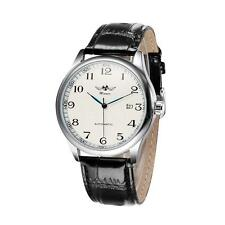 WINNER Men Women Automatic Mechanical Leather Wrist Watch Date White Dial H9Z1