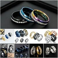 Unisex CZ Stainless Steel Ring Men Women Wedding Band Silver Gold Size 5-13 Ring