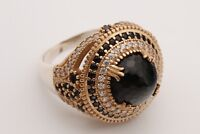 Turkish Jewelry Round Shape Black Onyx Topaz 925 Sterling Silver Ring Size 8.5