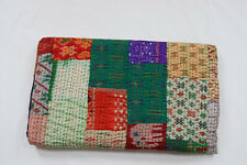 Kantha Quilt Silk Patchwork Throw Vintage