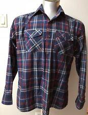 Hugo Boss Blue Plaid/checkered Botton Down Men King Sleeve Size XLarge