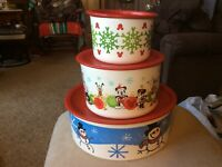 """LOT TUPPERWARE ONE TOUCH CANISTER SET LARGE 9"""" # 3421A, # 2709A, #2707A, Disney"""