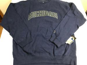Starter Michigan Wolverines Embroidered Sweatshirt Dark Blue Size Large NEW