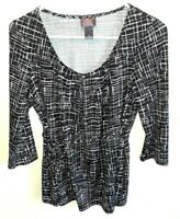 Women's Black & White  Maternity Top Oh Baby by Motherhood Size Small Stretchy
