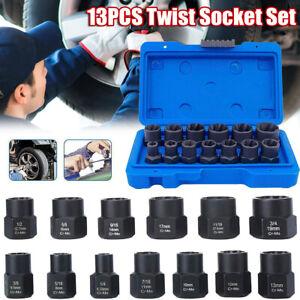13PCS/Box Impact Bolt Nut Remover Set Nut Extractor Socket, Bolt Remover Tool