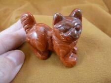 Y-CAT-WA-710) Red Jasper KITTY CAT walk gemstone STONE carving figurine gem cats