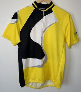 Santini Cycling Jersey Mens 1/2 Zip Sz XXL (52) BLK/YEL/WHT Print- Pre Owned #L1