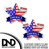 GOD BLESS AMERICA Vinyl Decal Sticker Car Window Wall Bumper Patriotic Love USA