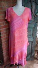 Mary McFadden Coral/Pink Watercolor Pattern V-Neck Flutter Sleeve Dress Size 14