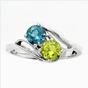 Natural Peridot and London Blue Topaz 925 Sterling Silver Ring s.8 Jewelry E352