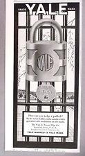 Yale Lock PRINT AD - 1927 ~~ padlock