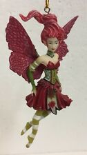 Red Poinsettia Flower Fairy Holiday Amy Brown Faery Figurine Ornament Collection