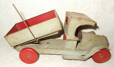 1920s Strauss Toy Co Tin Litho 8 1/2 inch Lever Dump Truck C Cab Grey & Red