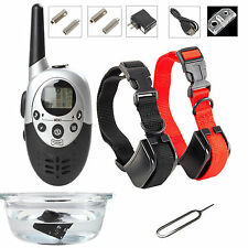 LCD Rechargeable Waterproof Dog Training Shock Collar Remote-1000 Yard-2 Collars