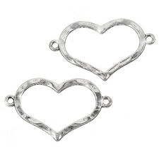 Hammered Open Heart Link Connectors Antique Silver 34mm - Pack of 2 (H91/4)